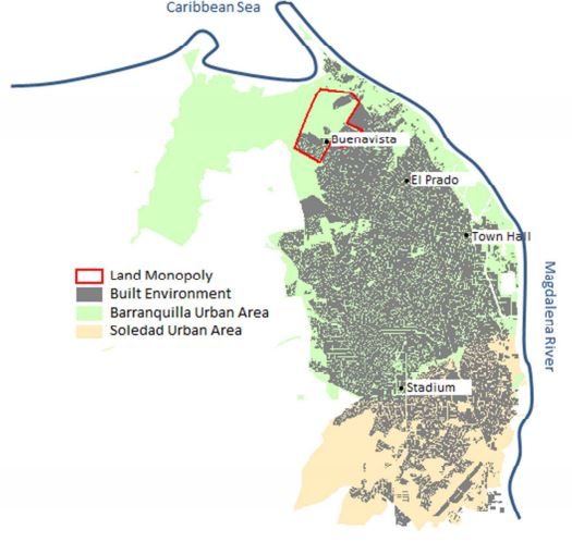 Map: Barranquilla and Soledad, land monopoly zone and sub-centres