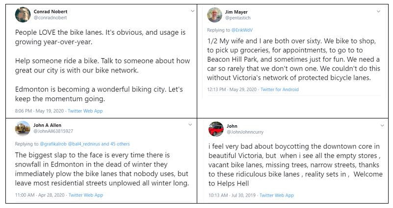 Figure 1. Recent examples of positive, and negative attitudes towards new bike lanes expressed on social media.