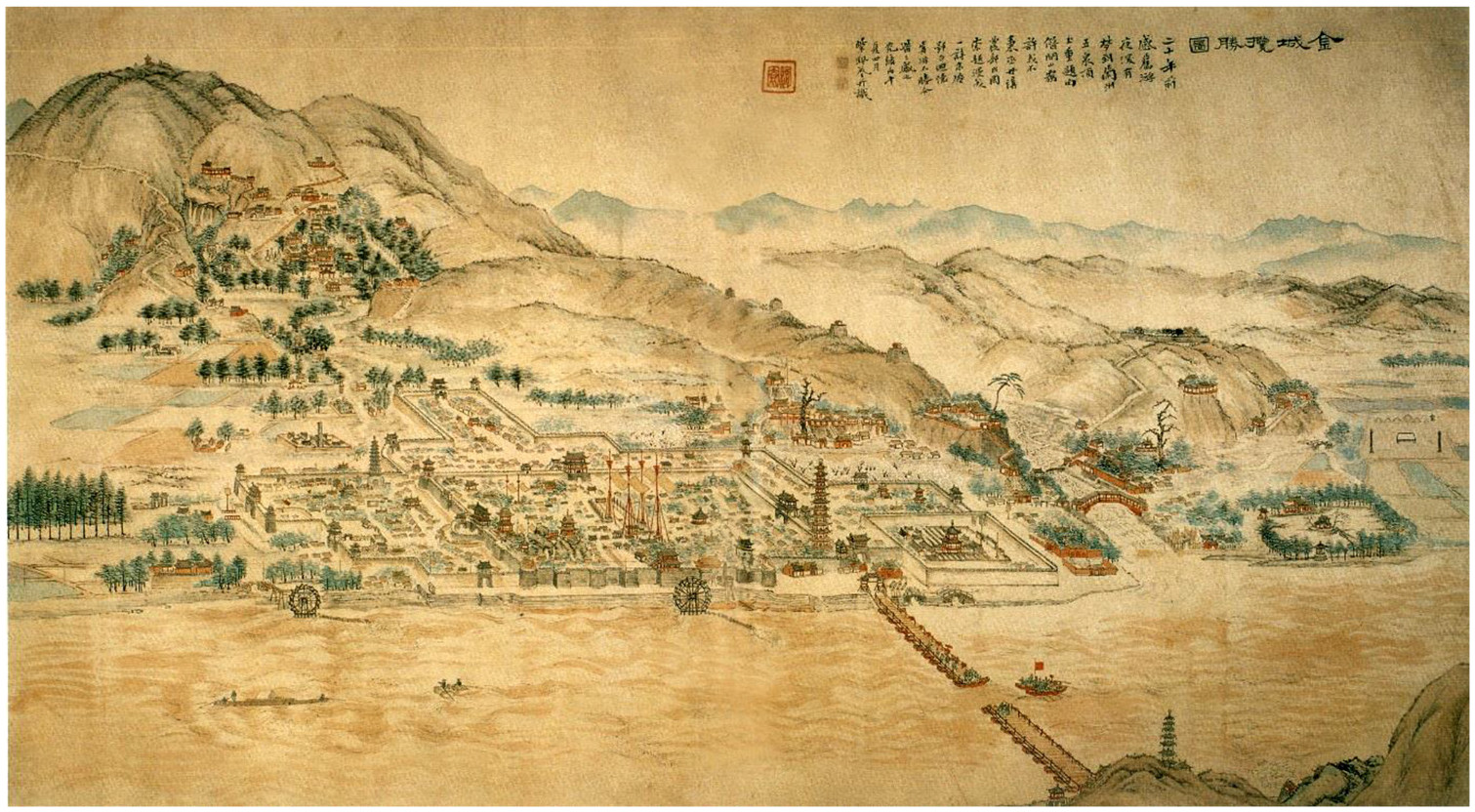 Figure 2. Map of Jincheng (Lanzhou) made during the reign of Emperor Guangxu of the Qing Dynasty, who ruled from 1875 to 1908.
