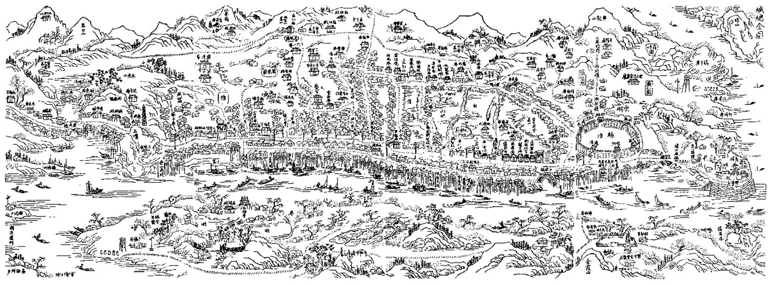 Figure 3. County General Map of the city of Xiangtan made in the 22nd year of the reign of the Jiaqing Emperor of the Qing Dynasty (1817).
